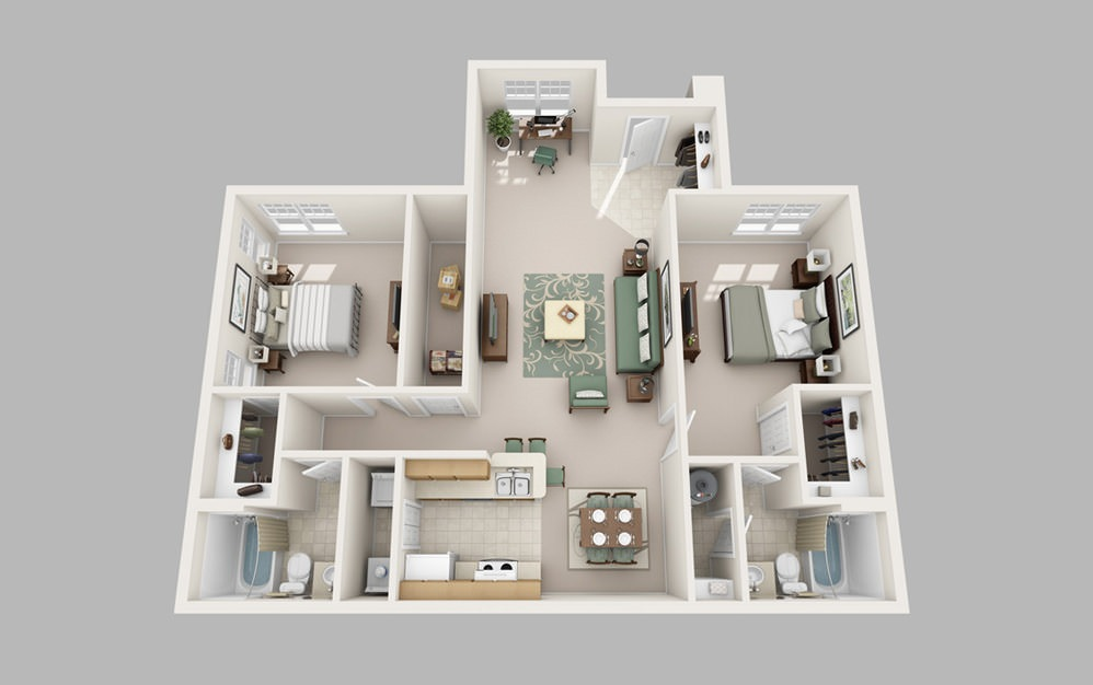 Elizabeth - 2 bedroom floorplan layout with 2 baths and 1121 square feet.