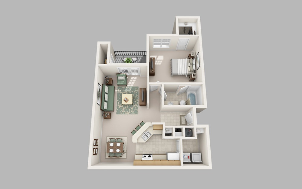 NoDa - 1 bedroom floorplan layout with 1 bath and 889 square feet.