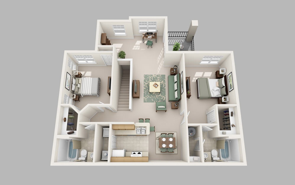 The Park - 2 bedroom floorplan layout with 2 baths and 1266 square feet.