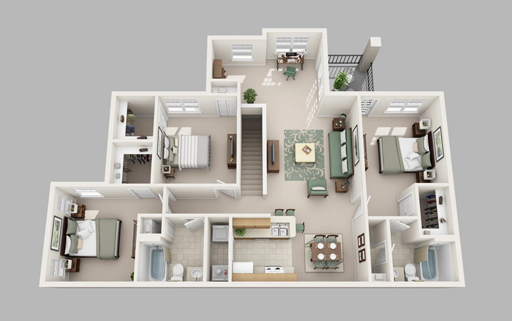 The Uptown - 3 bedroom floorplan layout with 2 baths and 1491 square feet.